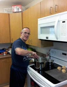 Mike stirring up a nice supper at Kent.